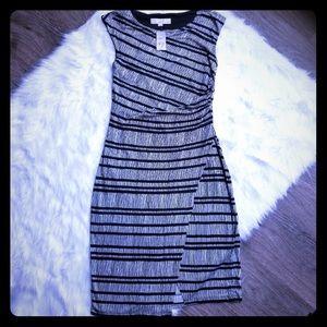 LOFT | Black + White Stripy Dress